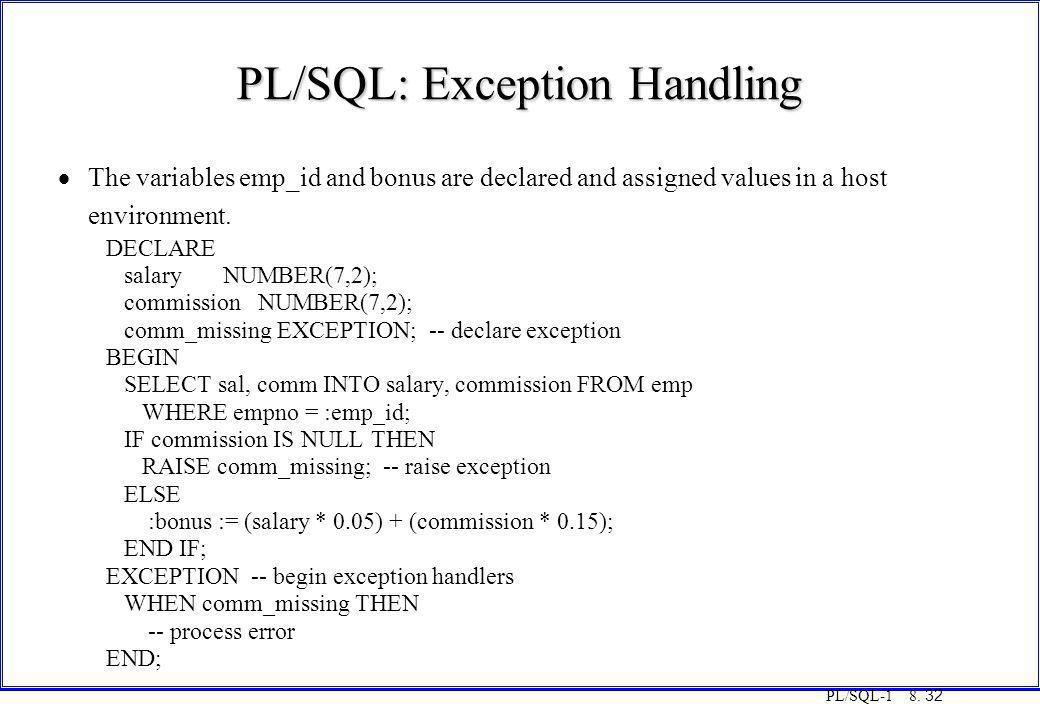 PL/SQL: Exception Handling
