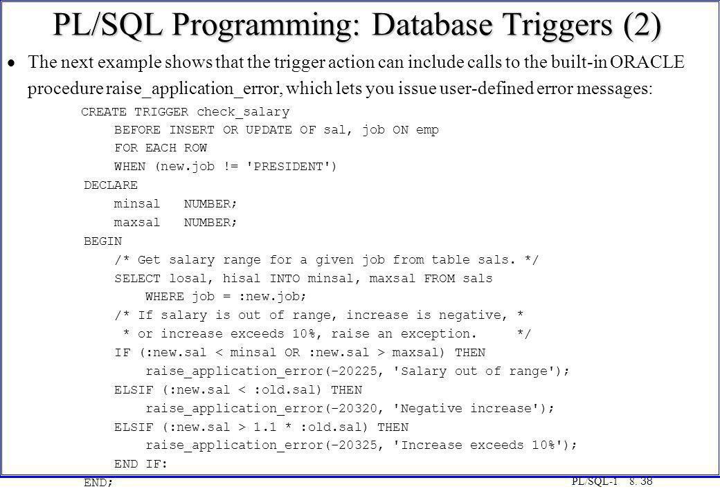PL/SQL Programming: Database Triggers (2)