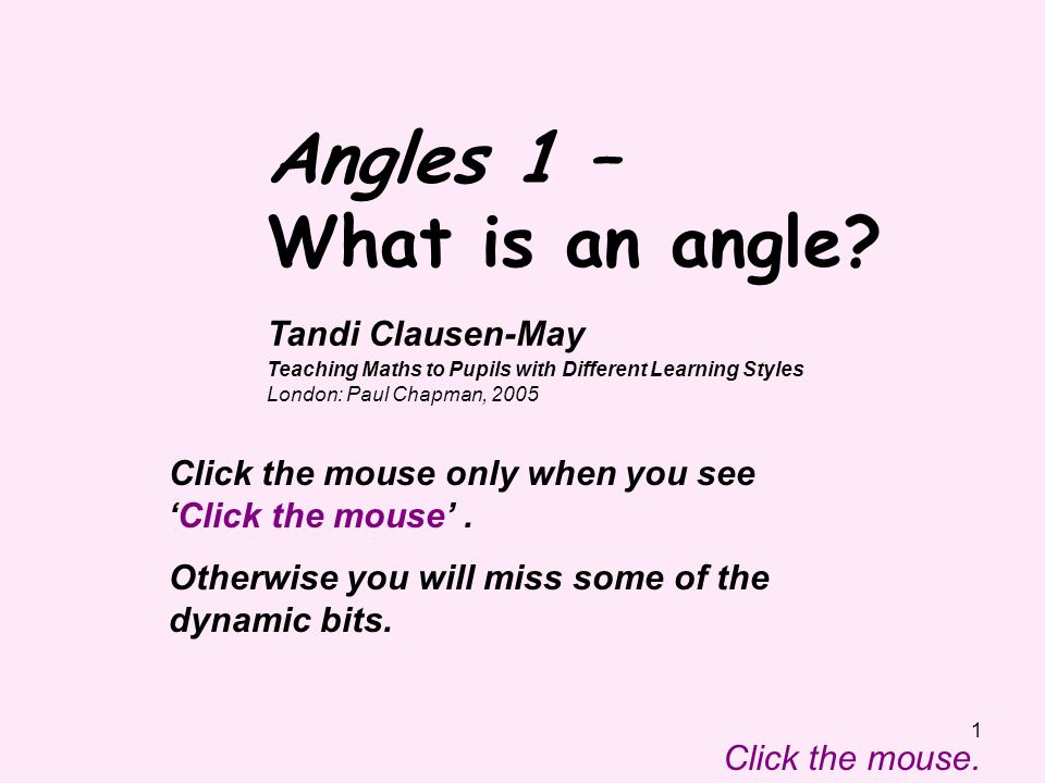 Angles 1 – What is an angle