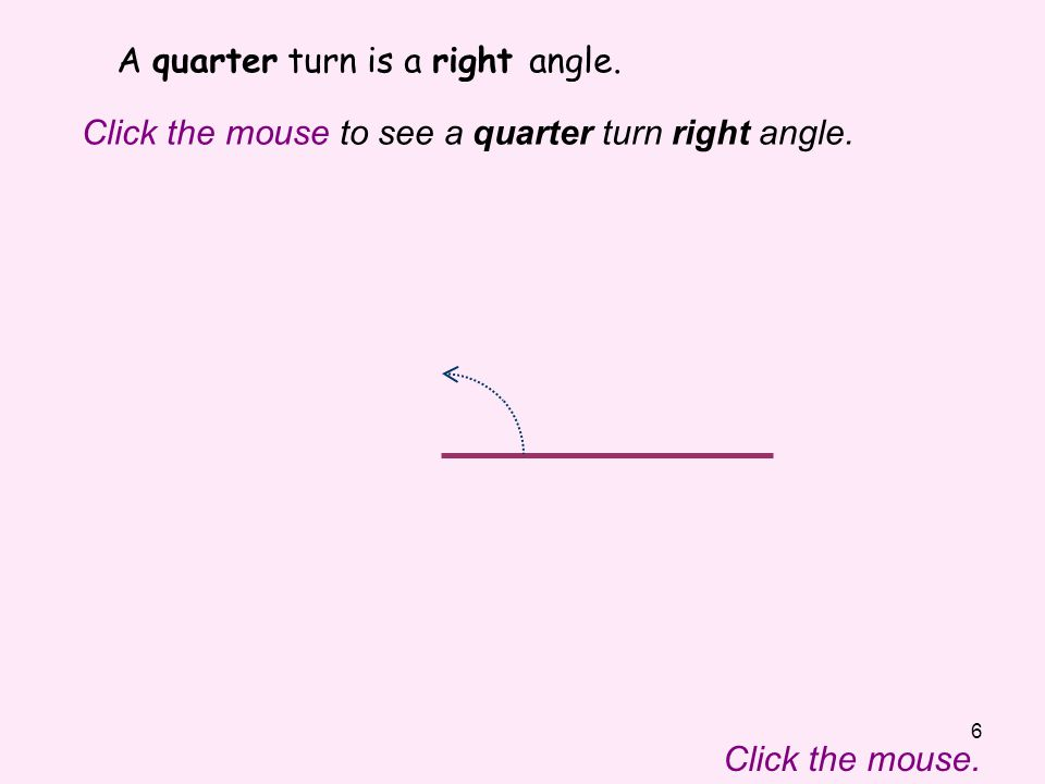 A quarter turn is a right angle.