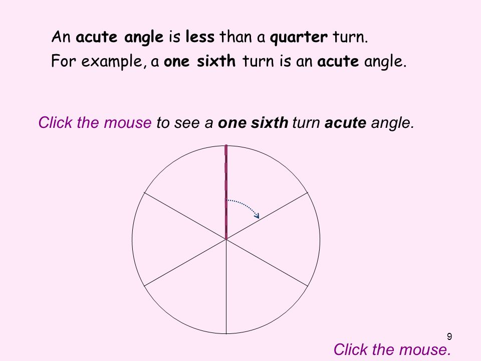 An acute angle is less than a quarter turn.