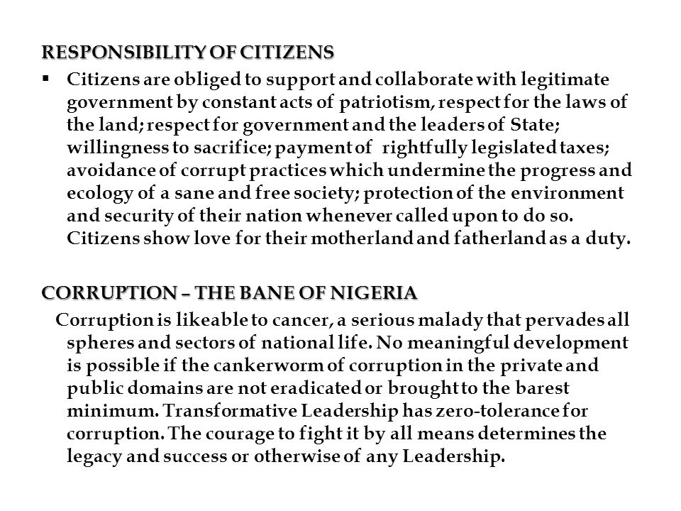 RESPONSIBILITY OF CITIZENS