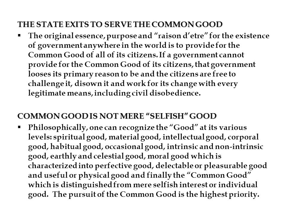 THE STATE EXITS TO SERVE THE COMMON GOOD