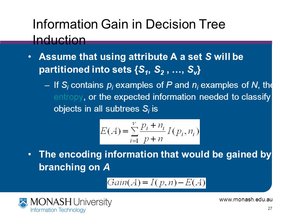 Information Gain in Decision Tree Induction
