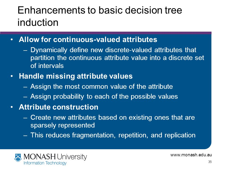 Enhancements to basic decision tree induction
