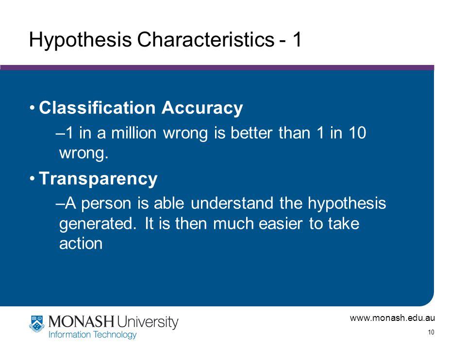 Hypothesis Characteristics - 1