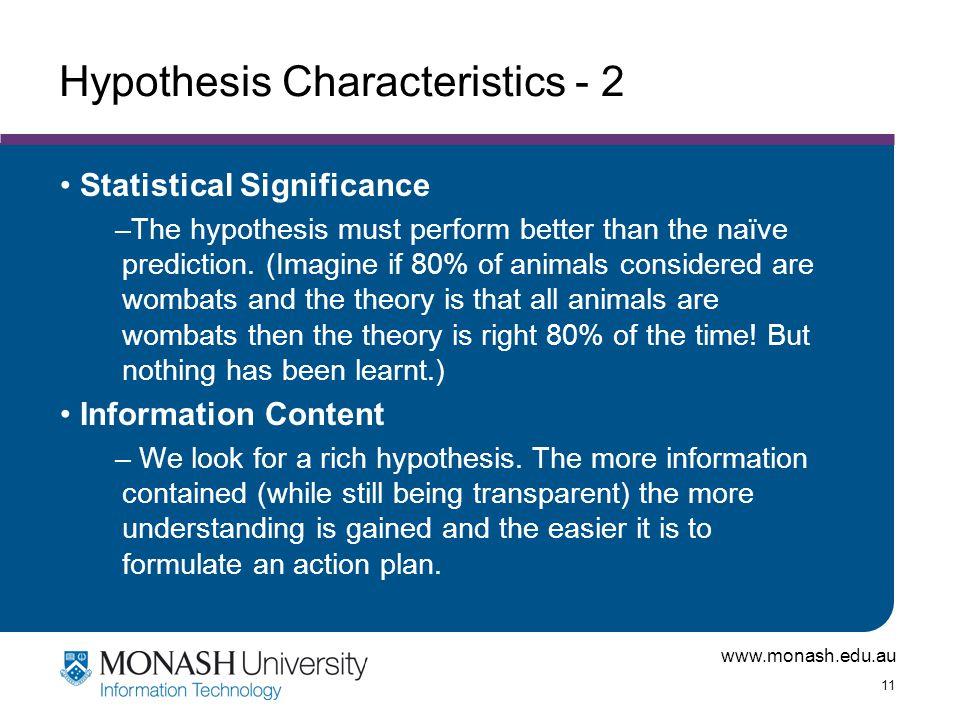 Hypothesis Characteristics - 2