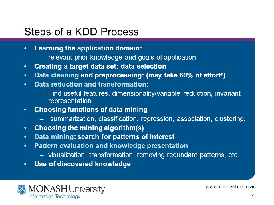 Steps of a KDD Process Learning the application domain: