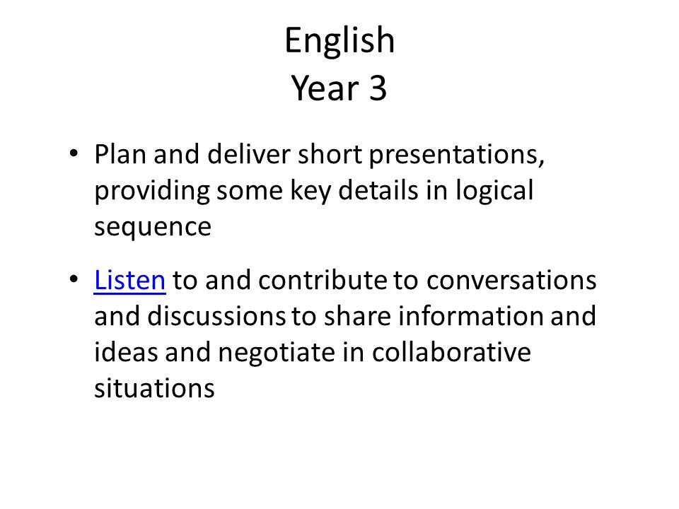 English Year 3 Plan and deliver short presentations, providing some key details in logical sequence.