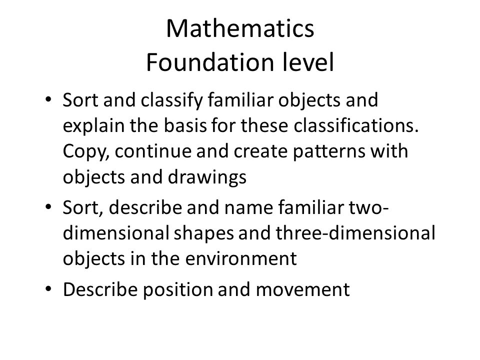 Mathematics Foundation level