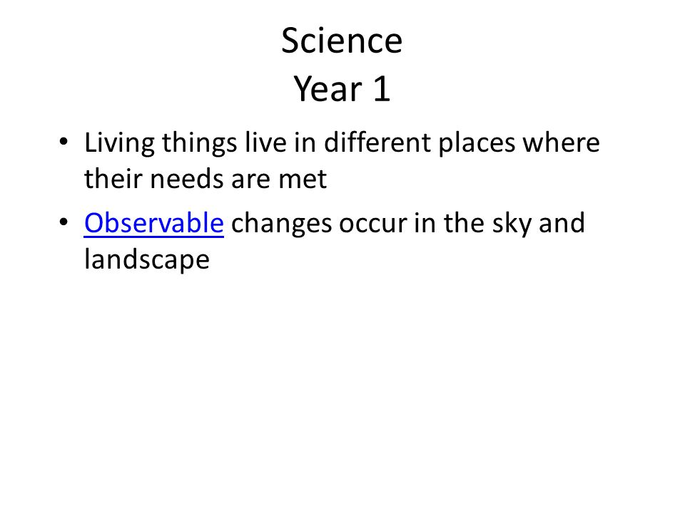 Science Year 1 Living things live in different places where their needs are met.