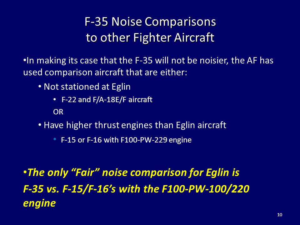 F-35 Noise Comparisons to other Fighter Aircraft