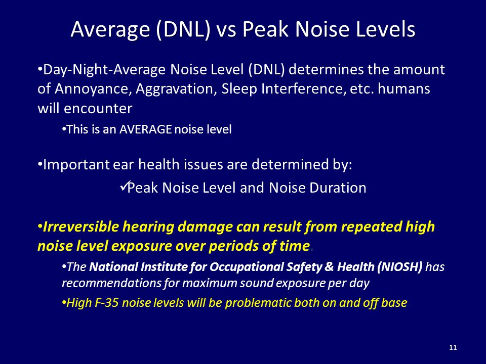 Average (DNL) vs Peak Noise Levels