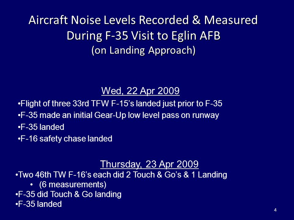 Aircraft Noise Levels Recorded & Measured During F-35 Visit to Eglin AFB (on Landing Approach)
