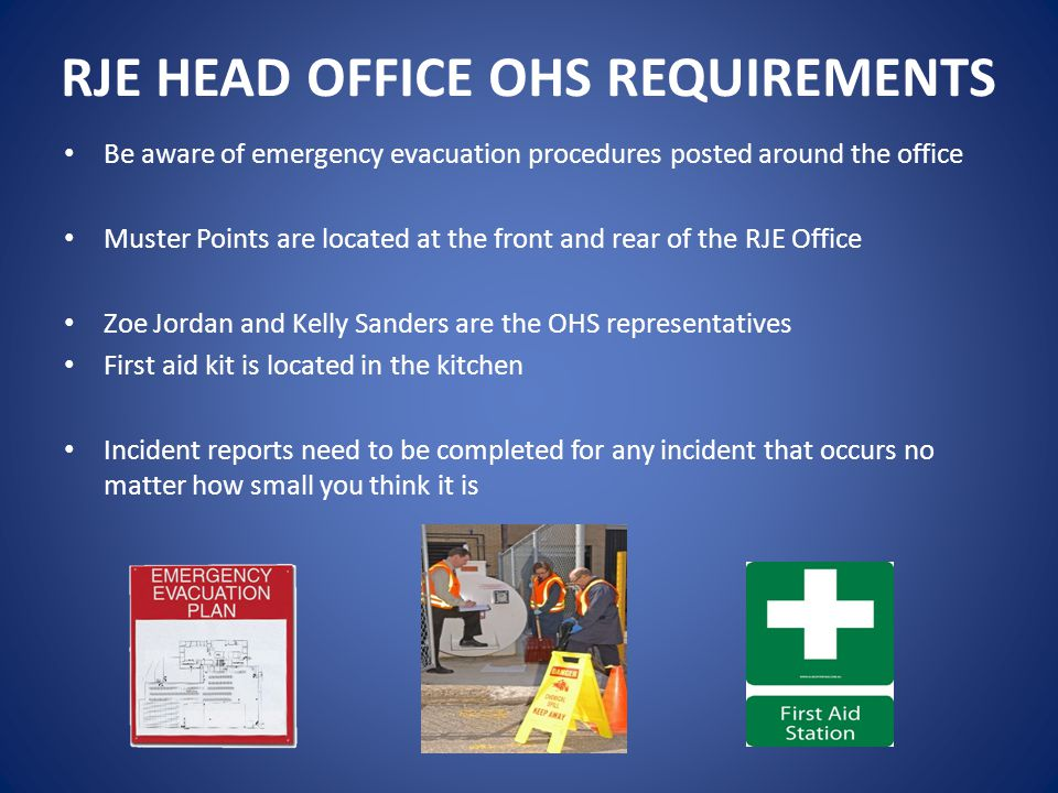 RJE HEAD OFFICE OHS REQUIREMENTS