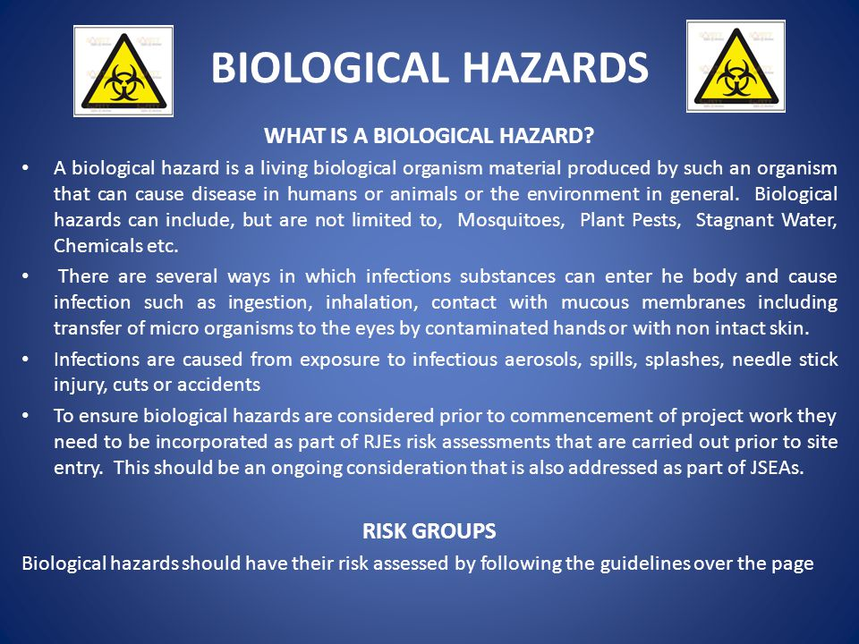 WHAT IS A BIOLOGICAL HAZARD