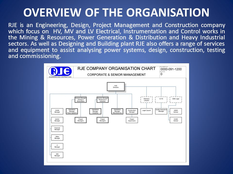 OVERVIEW OF THE ORGANISATION
