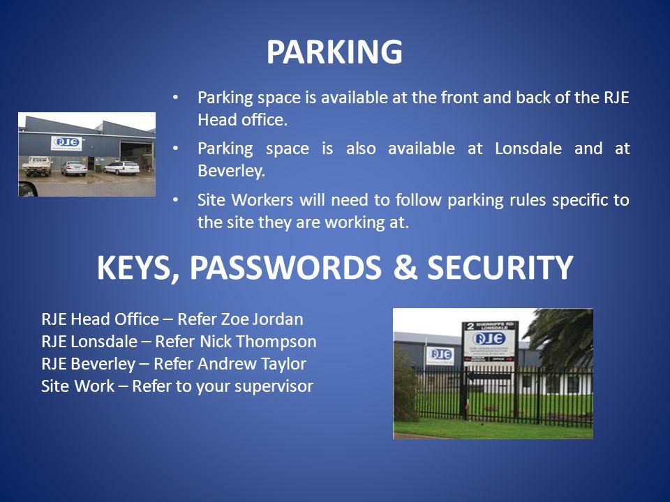 KEYS, PASSWORDS & SECURITY