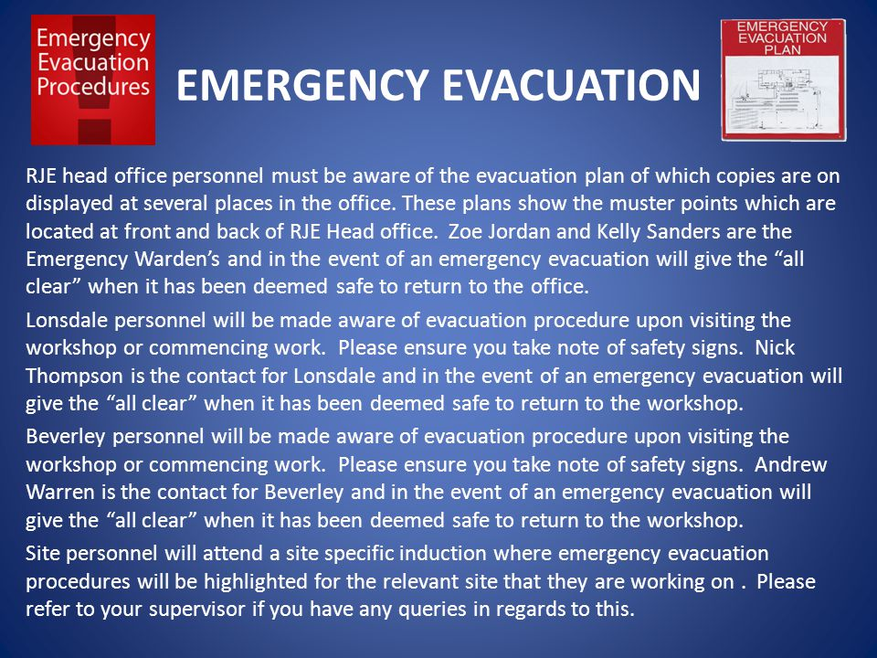 EMERGENCY EVACUATION