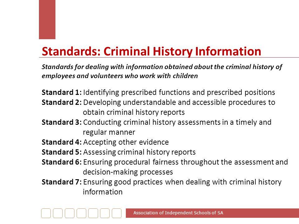 Standards: Criminal History Information