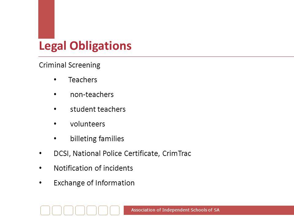 Legal Obligations Criminal Screening Teachers non-teachers
