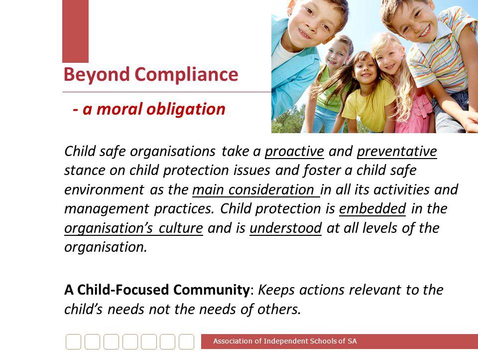 Beyond Compliance - a moral obligation