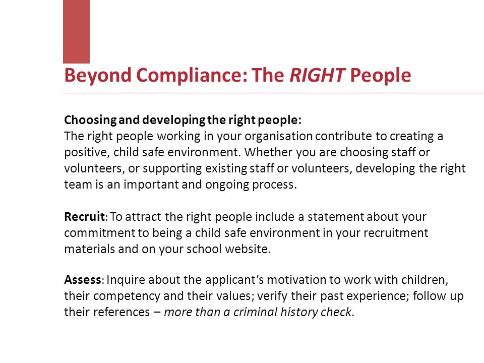 Beyond Compliance: The RIGHT People