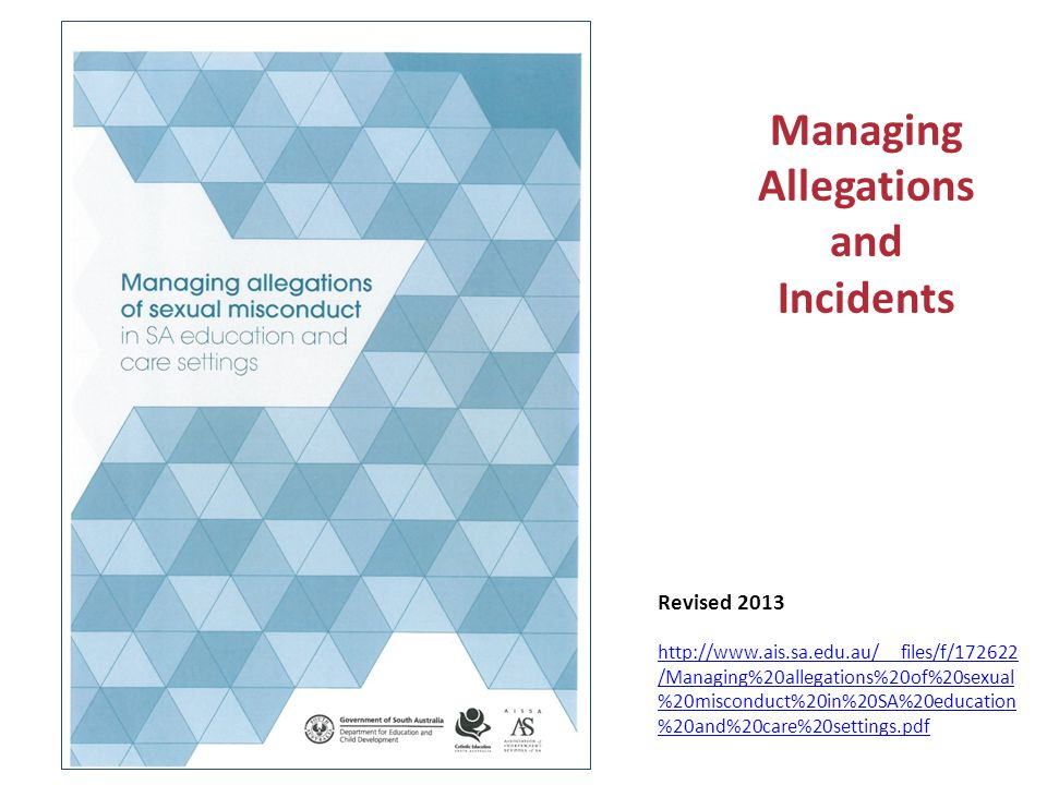Managing Allegations and Incidents