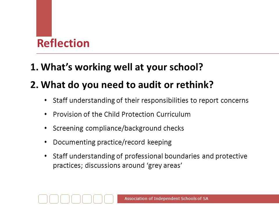 Reflection What's working well at your school