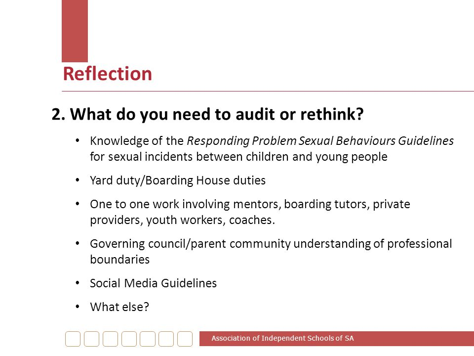 Reflection 2. What do you need to audit or rethink