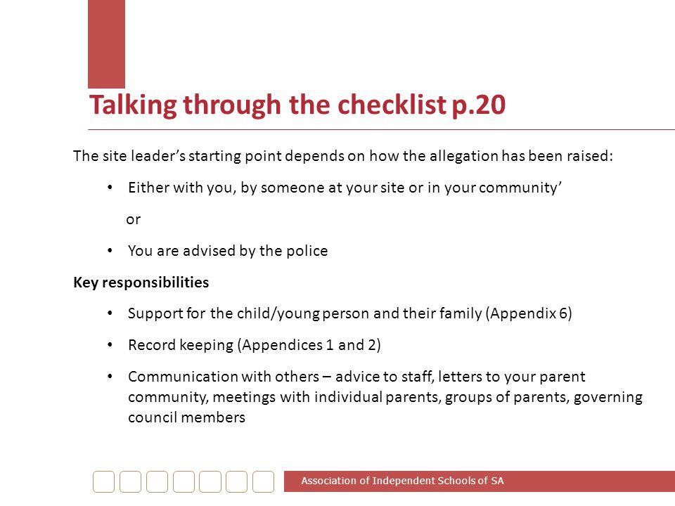 Talking through the checklist p.20