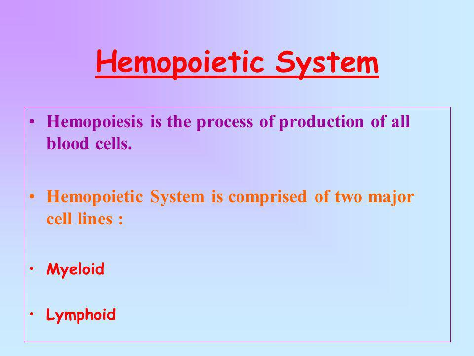 Hemopoietic System Hemopoiesis is the process of production of all blood cells. Hemopoietic System is comprised of two major cell lines :