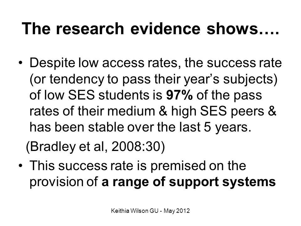 The research evidence shows….