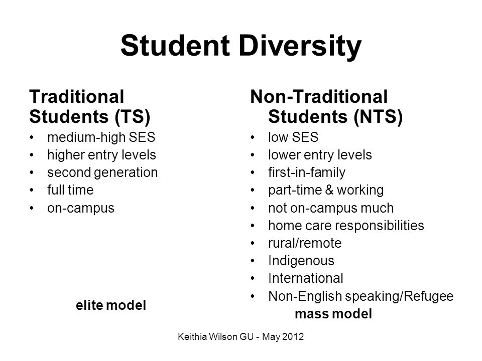 Student Diversity Traditional Students (TS) elite model