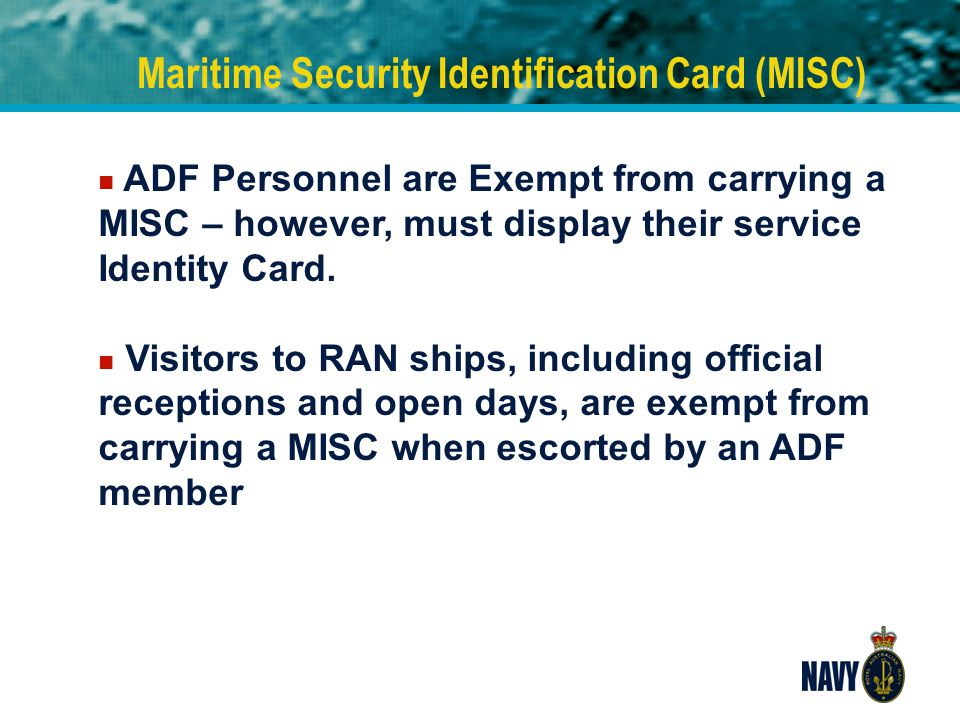 Maritime Security Identification Card (MISC)