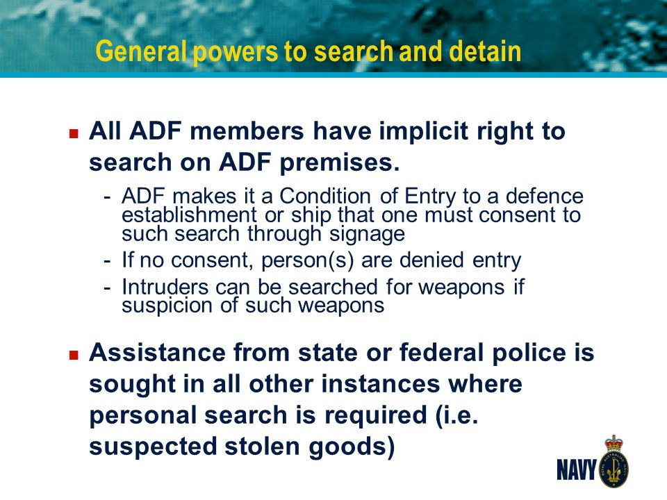 General powers to search and detain
