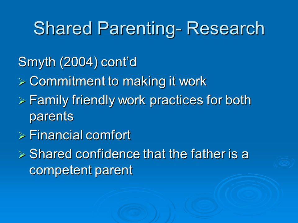 Shared Parenting- Research