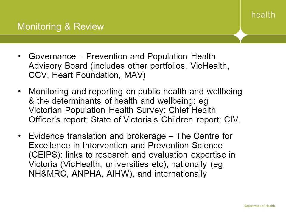 Monitoring & Review Governance – Prevention and Population Health Advisory Board (includes other portfolios, VicHealth, CCV, Heart Foundation, MAV)