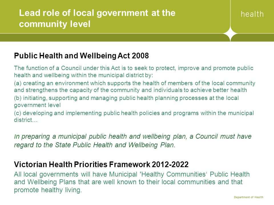 Lead role of local government at the community level