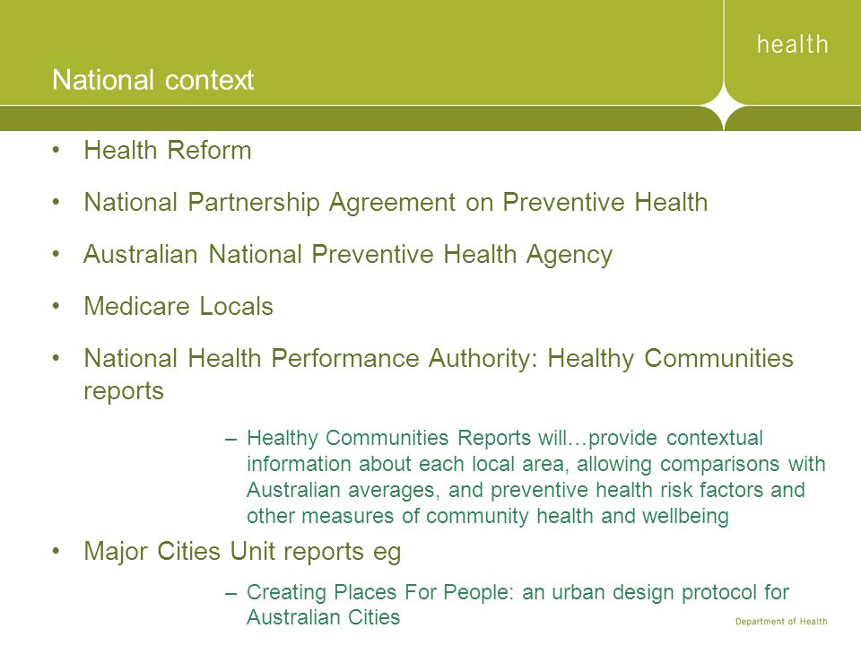 National context Health Reform