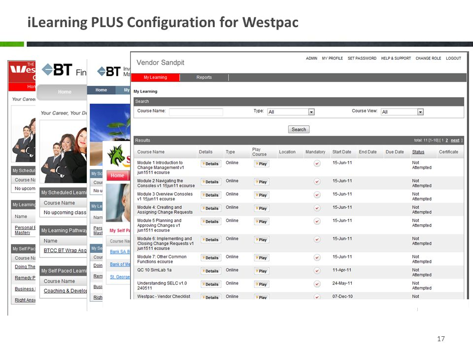 iLearning PLUS Configuration for Westpac