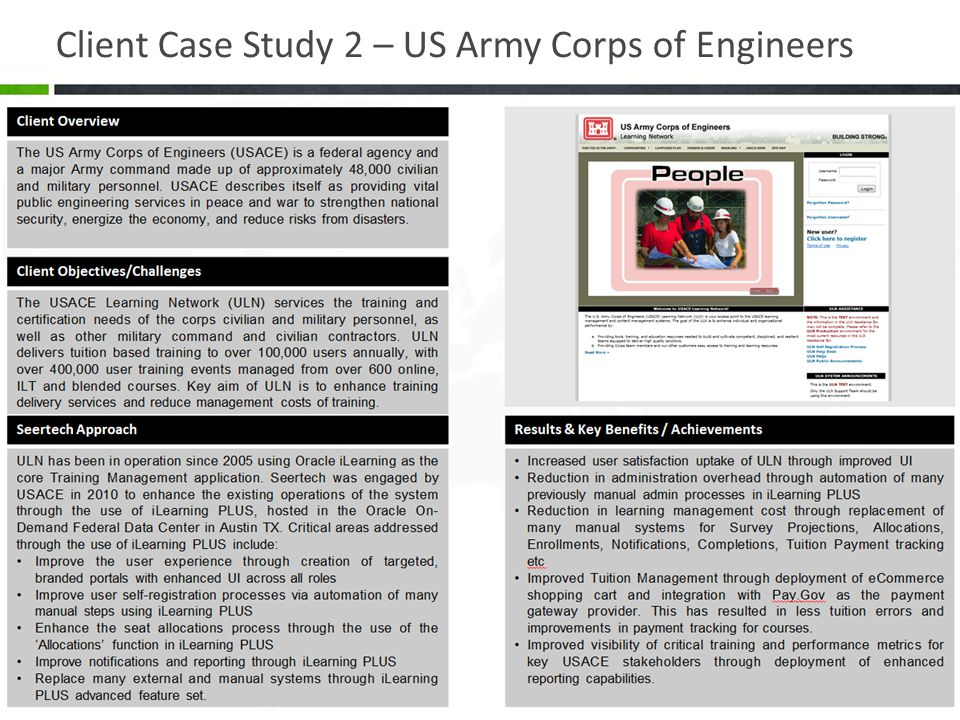 Client Case Study 2 – US Army Corps of Engineers