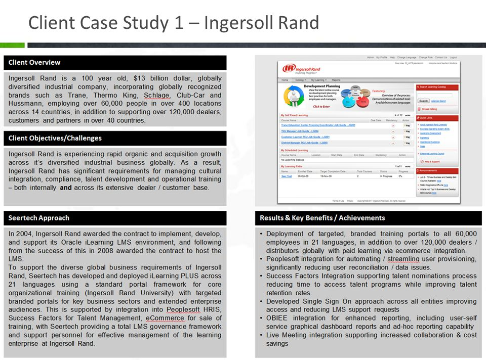 Client Case Study 1 – Ingersoll Rand