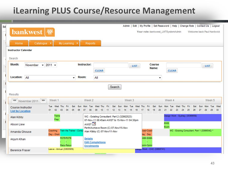 iLearning PLUS Course/Resource Management