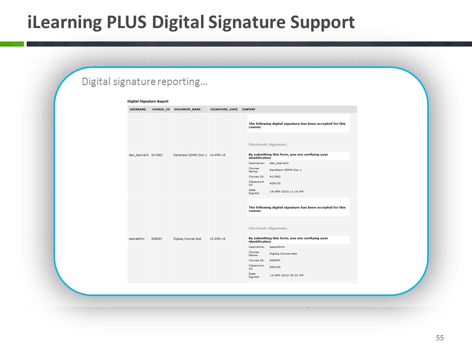 iLearning PLUS Digital Signature Support