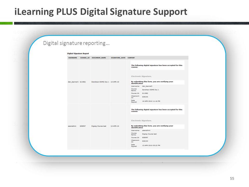 iLearning PLUS Digital Signature Support