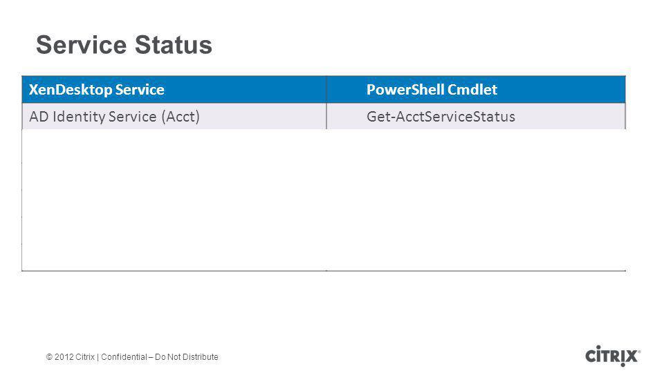 Service Status XenDesktop Service PowerShell Cmdlet