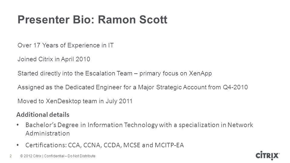Presenter Bio: Ramon Scott