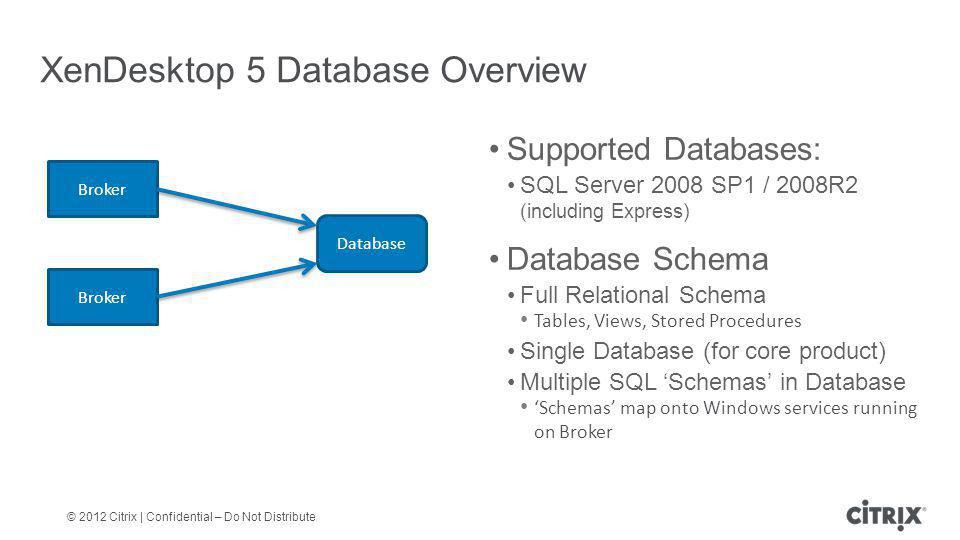 XenDesktop 5 Database Overview