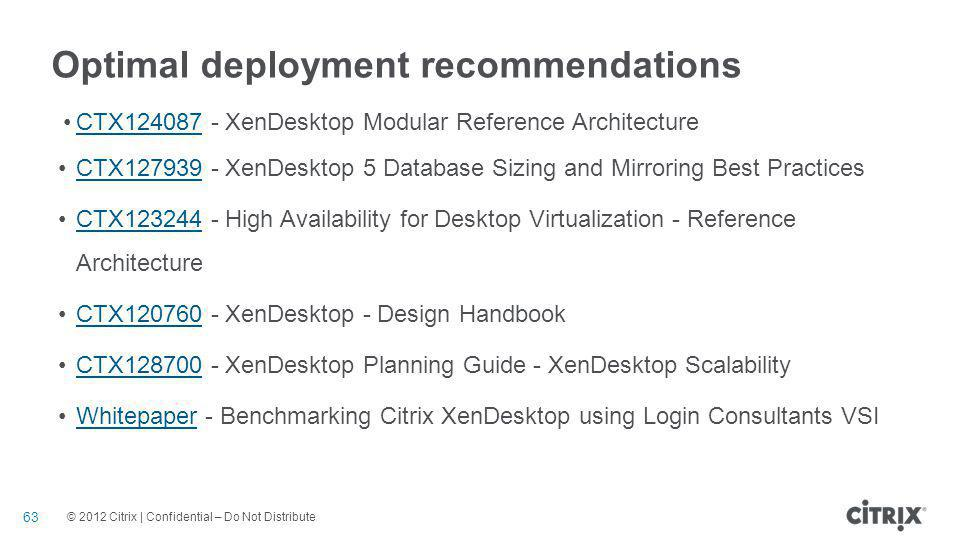 Optimal deployment recommendations